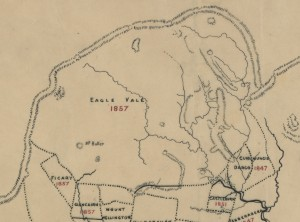 Showing Eagle Vale on the Pastoral Gippsland map of 1857.